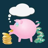 Geld overdracht varken — Stockvector