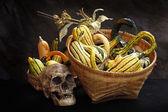 Fancy pumpkins in basket — Stock Photo