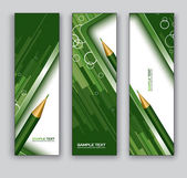 Abstract Banners With Pencil. Vector Backgrounds. Eps10 Format. — Stock Vector