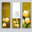 Abstract Floral Banners. Vector Backgrounds. Set of Three. — Stock Vector