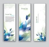 Abstract Banners with Leaves. Vector Backgrounds. Set of Three. — Stock Vector