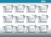 Calendario 2014. modificabile illustrazione vettoriale. — Vettoriale Stock