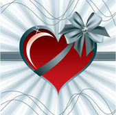 Heart with Bow. Valentine's Day Background. — Vettoriale Stock