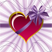 Heart with Bow. Valentine's Day Background. — Vector de stock