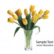Yellow tulips vector — Stock Vector