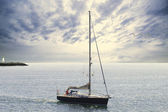 Blue sailboat — Stock Photo