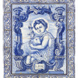 Ancient portuguese tiles with saint john — Stock Photo