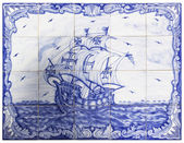 Ancient portuguese tiles with a ship — Stock Photo