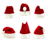 Several santa claus cap — Stock Photo
