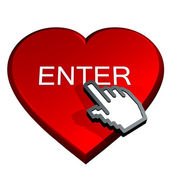 Hand select enter in a red heart — Stock Photo