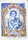 Vintage portuguese tiles with saint john — Stock Photo