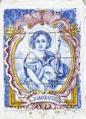 Vintage portuguese tiles with saint john — Stock Photo