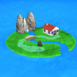 3d small island with an house — Stock Photo