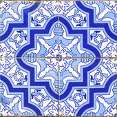 Vintage portuguese blue tiles — Stock Photo