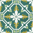 Stock Photo: Vintage green and yellow portuguese tiles
