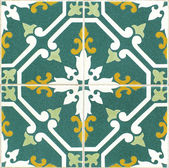 Vintage green and yellow portuguese tiles — Stock Photo