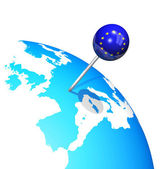 3d pin in europe map globe — Stock Photo