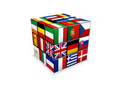 3d puzzle cube with european flags — Stock Photo