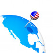 3d USA pin in america map globe — Stock Photo