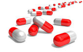 3d red and white pills — Stock Photo