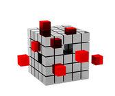 3d cubo metálico con cubos rojos — Foto de Stock