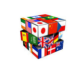 3d puzzle cube with world flags — Stock Photo