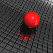 3d background with red ball and black mirrors — Foto Stock