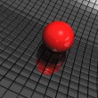 Stok fotoğraf: 3d background with red ball and black mirrors