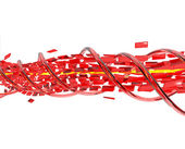 3d abstract background spiral of flying red cubes — Stock Photo