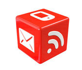 3d red cube with communication symbols — Stock Photo