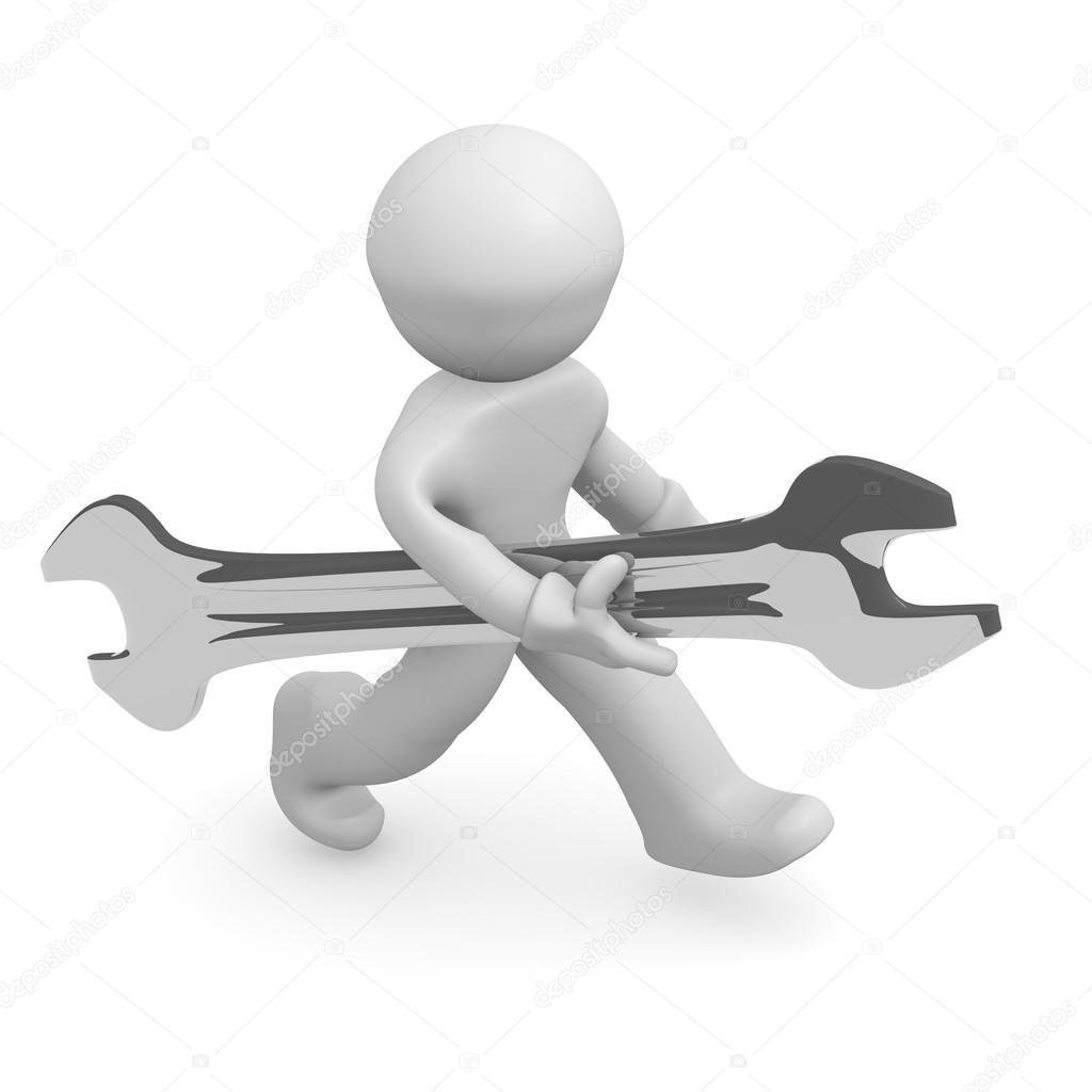 3d man with a wrench on a white background  Stock Photo #12763315