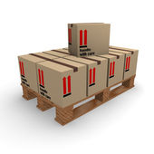 Cardboard boxes on a pallet — Stock Photo
