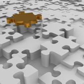 Golden piece of puzzle — Stok fotoğraf