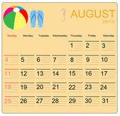 August 2013 — Stock Vector