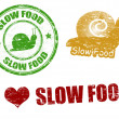 Stock Vector: Slow food stamps