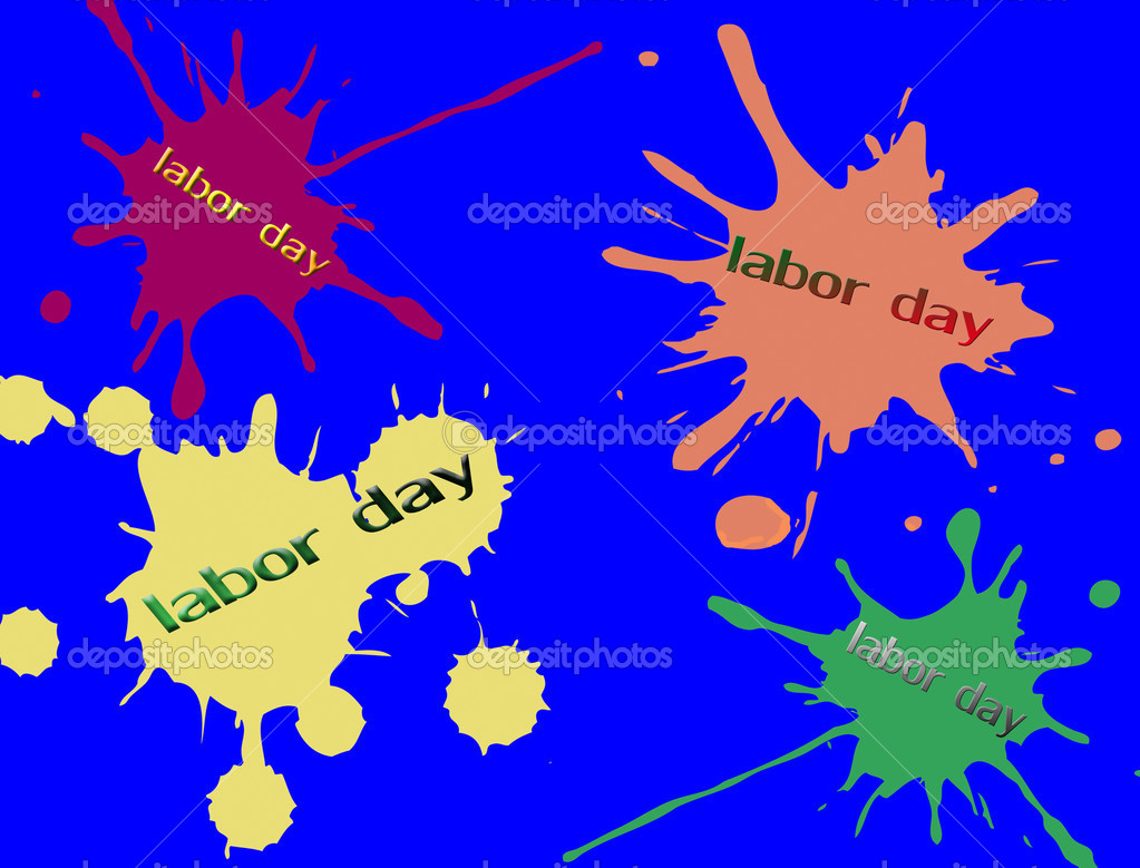 Colored vector ink splashes on blue background ant the text labor day written inside — Stock Vector #12625613