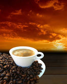 Coffee freshly and coffee beans — Stock Photo