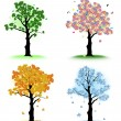 Art tree for your design. Four seasons — Stock Vector
