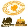 Happy Thanksgiving stamps — Stock Vector