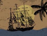 Fondo grunge con barco pirata — Vector de stock
