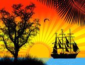 Pirate ship in ocean — Stock Vector