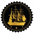 Label with gold sailing ship - Stock Vector