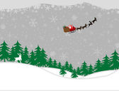 Winter forest and santa sleigh — Stock Vector
