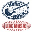 Stock Vector: Live music and hard rock stamps