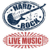 Live Musik und Hard-Rock-Briefmarken — Stockvektor