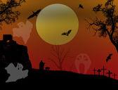 怖いハロウィーンの背景 — ストックベクタ