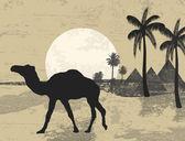 骆驼和 grunge 背景上的棕榈树 — 图库矢量图片