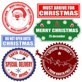 Set of Christmas stamps and labels — Stock Vector