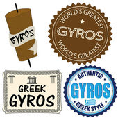 Set of gyros labels — Stock Vector