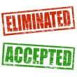 Accepted and Eliminated stamp — Stock Vector